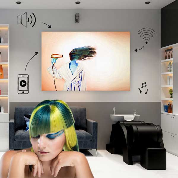 The perfect speaker for your beauty salon. Decorative, innovative and unobtrusive. The SoundWall - The photo canvas speaker.
